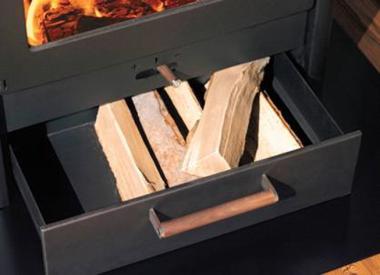 poêle à bois acier Austroflamm PALACE FOUR tiroir à bois